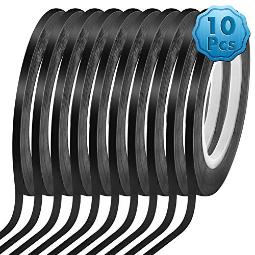 Cridoz 10 Rolls 1/8 Pinstripe Tape Dry Erase Board Tape Whiteboard Thin Tape Lines Pinstriping Graphic Chart Line Grid Marking Tape, 108 Feet Per Roll ()