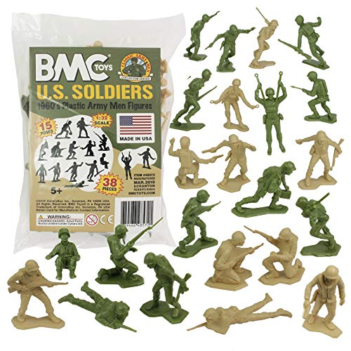 Soldiers Toy (BMC Marx Plastic Army Men US Soldiers - Green vs Tan 38pc WW2 Figures - Made in USA)