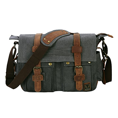 Peacechaos Men's Canvas Leather DSLR SLR Vintage Camera Messenger Bag