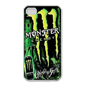 Special Design Cases iPhone 4,4S Cell Phone Case White Monster Energy Fmgqv Durable Rubber Cover