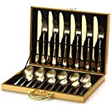 Gold Silverware Flatware Cutlery Set,18/0 Stainless Steel Utensils 24-Piece Service for 6,Include Knife/Fork/Spoon,Matte Polished,Dishwasher Safe(Gold)