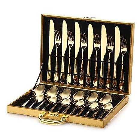 Amazon.com: Juego de cubiertos plateados dorados, utensilios ...