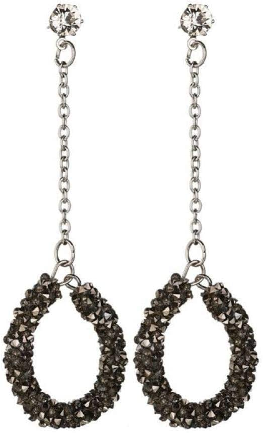 QYMX Pendiente para Mujer, Pendientes de Gota Redondos de Plata Antigua para Mujeres, Damas de Oficina, Pendientes de Diamantes de imitación Vintage, Pendientes Largos