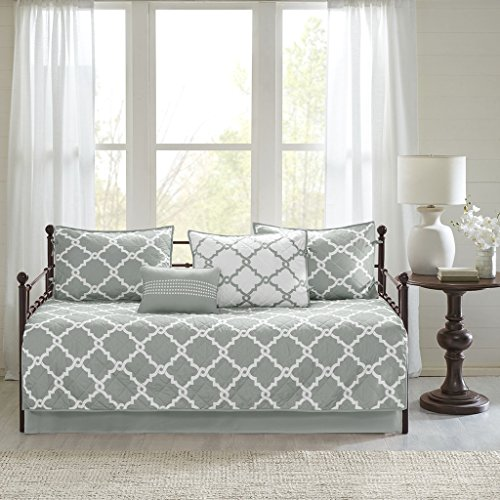 Madison Park Essentials Merritt Daybed Size Quilt Bedding Set - Grey, Geometric - 6 Piece Bedding Quilt Coverlets - Ultra Soft Microfiber Bed Quilts Quilted Coverlet