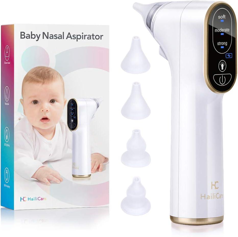 Aspirador nasal eléctrico HailiCare, limpiador de nariz para bebé, succión de nariz y mocos para recién nacidos y niños pequeños, con 4 puntas de silicona y 3 niveles de succión: Amazon.es: Bebé