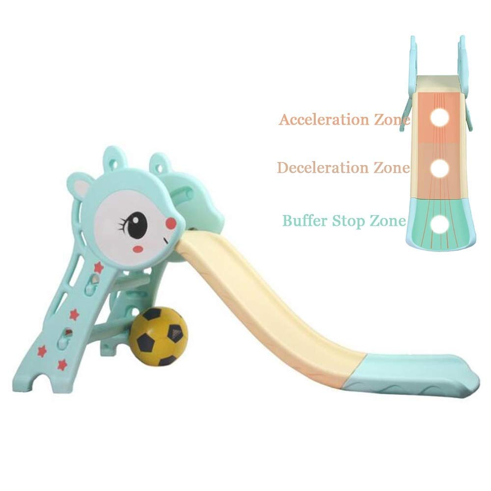 PNFP Children's Foldable Slide, Kids Toys Basketball Indoor Outdoor Slide Garden Play Area, Pedal Set and Wave Slide 1.27 m, Suitable for 1-6 Years Old Baby (Color : Blue) by PNFP