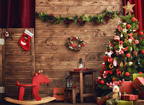 7x5ft Christmas Backdrop,Christmas Tree Fireplace Photography for Party Vinyl Photo Background YM18