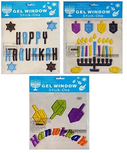 Happy Hanukkah Star (Hanukkah-Chanukah Holiday Window Gel Clings - Stars of David, Menorah with Candles,