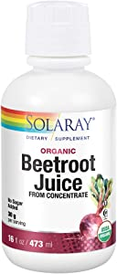 Solaray Organic Beetroot Juice from Concentrate | Supports Healthy Energy, Heart & Brain Function | 16 fl oz, 16 Servings