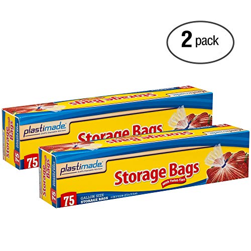 Plastimade Storage Bags, Original Twist-Tie, One Gallon, 75ct (Pack Of 2 150 Bags Total) (Wax Twists)