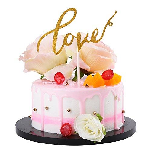 (Sunny ZX Love Wedding Cake Topper, Wedding Cake Topper, Engagement Cake Topper, Anniversary Cake Topper, Love Topper, Gold Glitter Cake Topper)