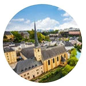 alfombrilla de ratón Vista superior de la abadía de Neumünster en Luxemburgo - ronda - 20cm