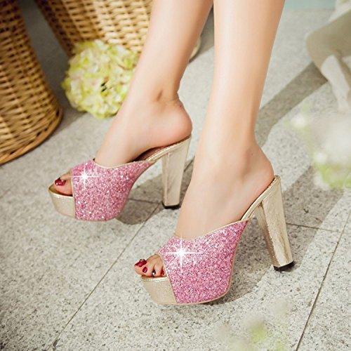 Chaussures Femme étanche Pink haut Talon Tongs SCLOTHS épais Été avec tEqHqa