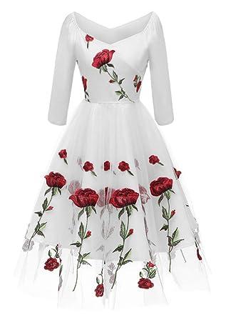 VERNASSA Mujer Vestido de Tul con Cuello en V 50s Vintage,Rosa Bordado Floral 3