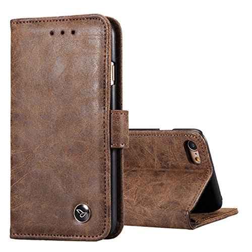 iPhone 7 / 6S / 6 Leather Wallet Case, TechMonsters USA Genuine Full Grain Real Leather Flip Wallet Case - - Brandname Luxury