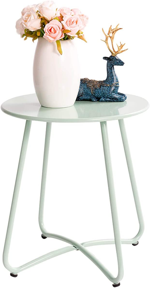 HollyHOME Small Round Patio Metal Side Snack Table, Accent Anti-Rust Steel Coffee Table for Garden, Modern Weatherproof Outdoor End Table, (H) 17.55