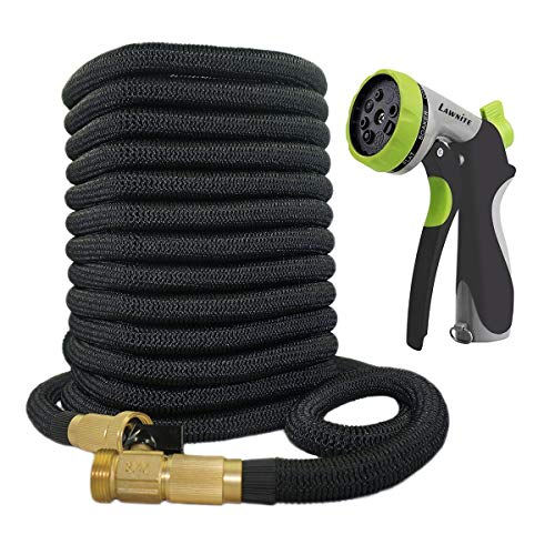 Lawnite 150ft Garden Hose-2018 Upgraded Expandable Water Hose with Double Latex Core 3/4 Solid Brass Fittings Extra Strength Fabric – Flexible Expanding Hose with 8 Function Spray Metal Nozzle