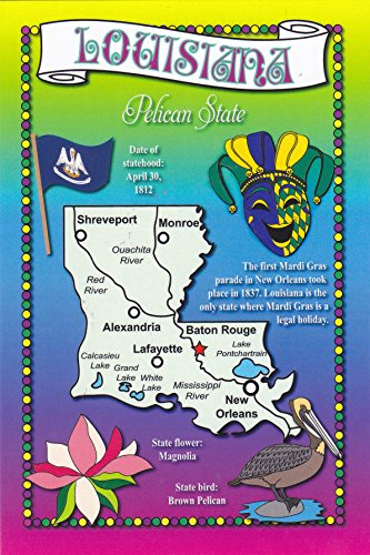 (STATES2LOU - LOUISIANA, Pelican & Bluegrass State, Statehood: 04/30/1812; Capital: Baton Rouge; State flower: Magnolia; State bird: Brown Magnolia ../ . - A U.S. State POSTCARD .. from HibiscusExpress)