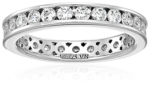 Platinum Plated Sterling Silver Swarovski Zirconia Channel Set Eternity Ring, Size 7
