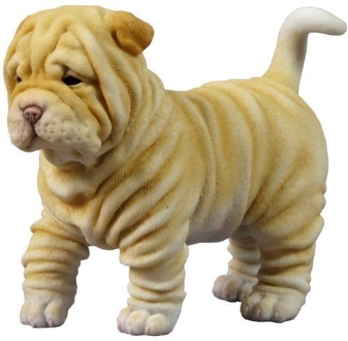 4.75 Inch Shar Pei Puppy Decorative Statue Figurine, Tan and White