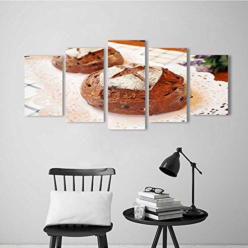 Five Pieces Wulian Painting Living Room Decoration Frameless Baked Bread Four for Living Room Office Decor - Square Bengals Piece 4