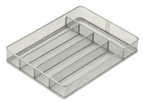 Honey-Can-Do KCH-02154 Steel Mesh 5-Compartment Cutlery Utensil Organizer, - Utensil Chrome