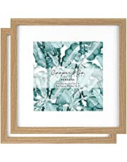 Cooper & Co. Homewares 30 x 30 cm Matt to 20 x 20 cm Premium Paradise Wooden Photo Frame Set of 2 Pieces, Oak