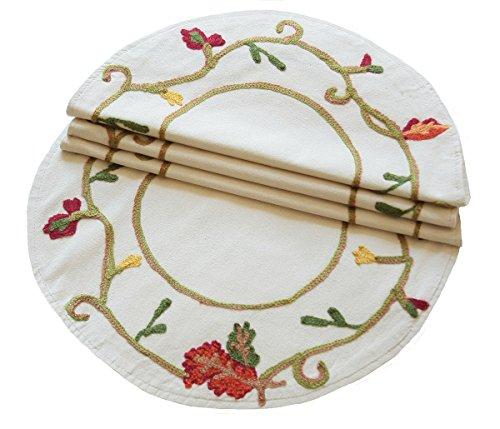 Xia Home Fashions Harvest Vine Crewel Embroidered Fall Doilies, 16-Inch Round, Set of 4
