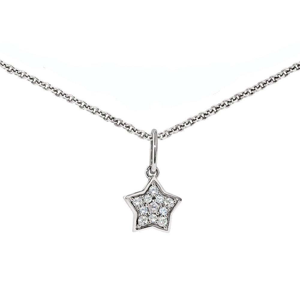 Ze Sterling Silver Diamond Star Necklace