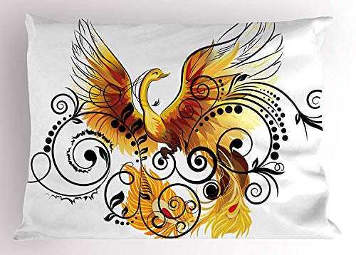 (Tigeaslg Animal Pillow Sham by, Mystic Bird Phoenix Floral Ivy Leaves with Wings Feathers Print Image, Decorative Standard Queen Size Printed Pillowcase, 30 X 20 Inches, Yellow White Black Brown )