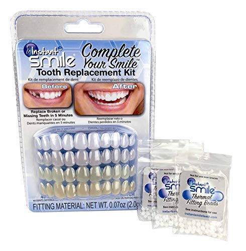 Instant Smile Complete Your Smile Tooth Replacement Kit with 3 Pack Fitting Beads