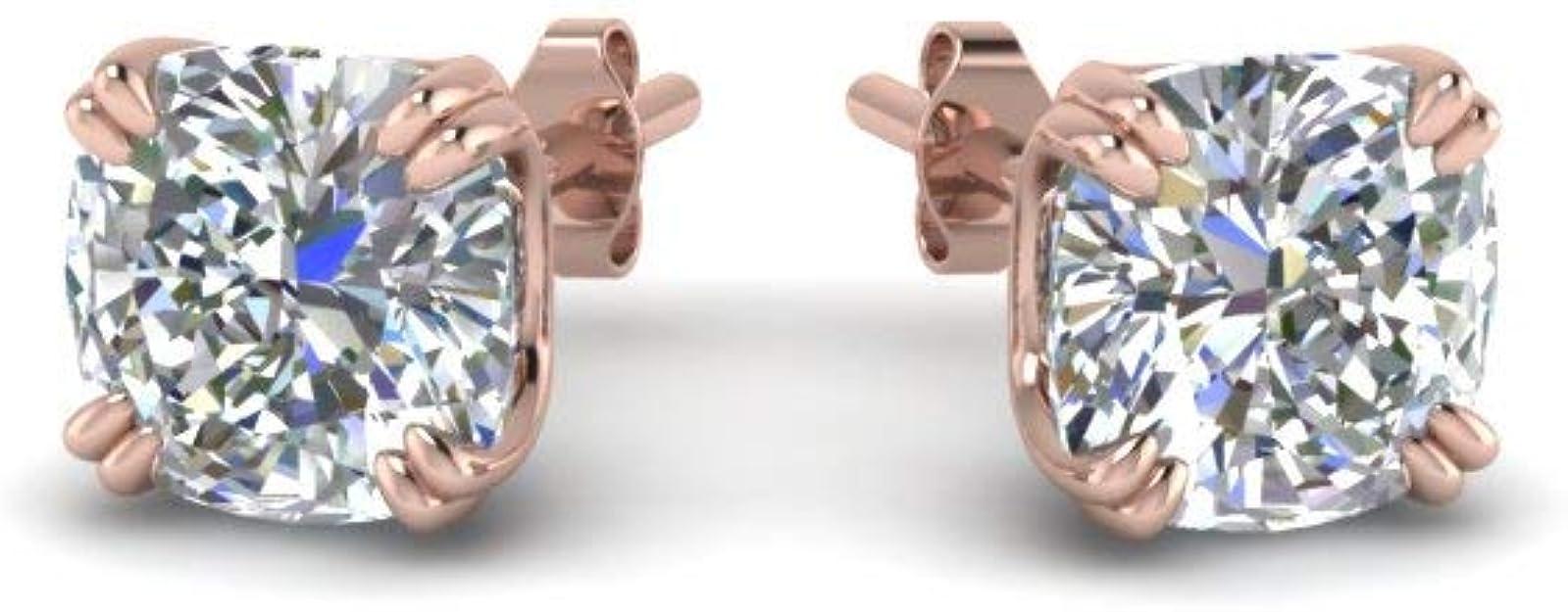 8mm Created Diamond Round Cut 925 Sterling Silver Stud Earrings 4.00ct VVS1