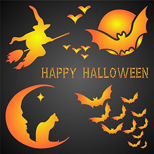 "HALLOWEEN CARD STENCIL (size 7""w x 7""h) Reusable Stencils for Painting - Best Quality Scrapbooking Halloween Ideas - Use on Walls, Floors, Fabrics, Glass, Wood, Posters, and (Halloween Ideas)"