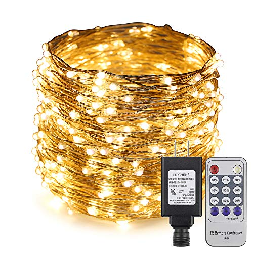 ErChen Adapter Powered Led Starry String Lights, 100FT 30M 300 Led Plug in Dimmable Remote Control Silver Copper Wire Fairy Lights for Wedding Christmas Party Home Decor (Warm White)