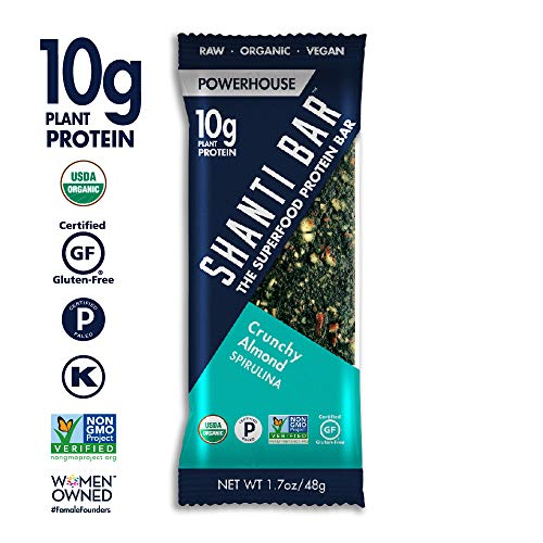 SHANTI BAR Vegan Organic Superfood Protein Bar | 10g Plant Based Protein | Raw Paleo Gluten Free Snack Bars | Performance Nutrition | Crunchy Almond Spirulina, 12 Count