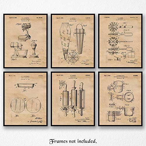 Vintage Baking Patent Poster Prints, Set of 6 (8×10) Unframed Photos, Great Wall Art Decor Gifts Under 20 for Home, Office, Studio, Kitchen, Shop, Student, Teacher, Chef, Cook & Cullinary Fan