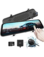 """AUTOWOEL 2.5K Mirror Dash Cam, 12"""" Touch Screen Front and Rear Dual Dash Camera for Cars, Super Night Rear View Mirror Camera, Backup Camera with Sony IMX415 Sensor, GPS, G-Sensor, Parking Assistance"""