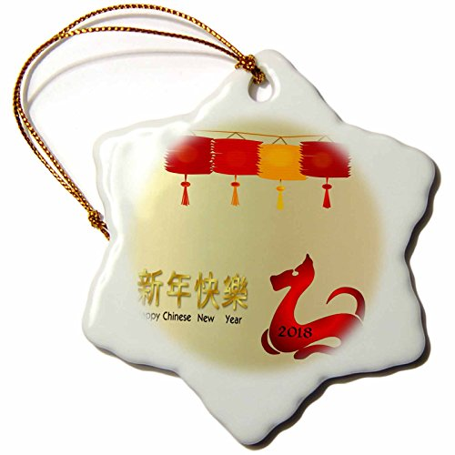 3dRose Chinese New Year - Image of Happy New Year On Gold With Red Dog and Lanterns - 3 inch Snowflake Porcelain Ornament - New Ornaments Year Happy