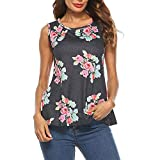 Women Ladies Summer Top Floral T Shirt Casual Us Polo Shirt Top Blouse O Neck Tank Cami Gray