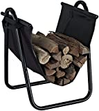Crosley Furniture Logan Firewood Storage Rack and Carrier - Black
