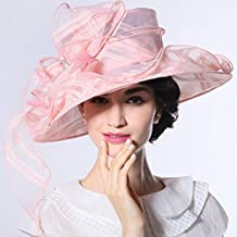 June'syoung Organza Hat 100% Organza Hat and Shawl Pink Color Floral Pattern Lady Fedoras (Pink Hat)