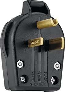 Eaton S42-SP-L Commercial Grade Angle Vinyl Power Plug with 30/50-Amp, 250-Volt, 6-30/6-50-NEMA Rating, Black