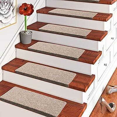 Pergamon Bent - Trend de Fieltro Alfombra de Escalera - marrón Beige (Cuadrada) - Individual o en Juego de 15: Amazon.es: Hogar