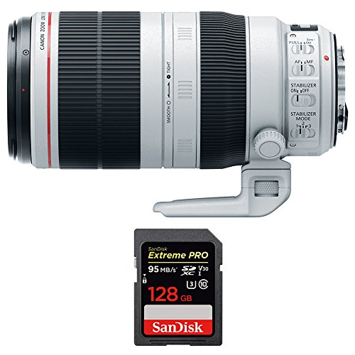 Canon (9524B002) EF 100-400mm f/4.5-5.6L IS II USM Lens w/ Sandisk Extreme PRO SDXC 128GB UHS-1 Memory Card