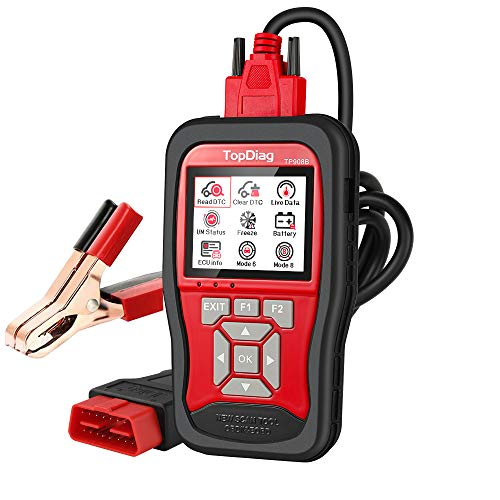 TopDiag Universal Car Code Reader & 12V Battery Tester OBD2 Scanner 2 in 1 Auto Diagnostic OBDII EOBD Scan Tool O2 Sensor Engine Test for All Cars OBDII Protocol,2021 Version