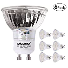 DiCUNO GU10 LED Bulbs 5W Warm White, 3000K,500lm, 120 Degree Beam Angle, 50W Halogen Bulbs Equivalent, MR16 LED Light Bulbs,Non-Dimmable, 6-Pack