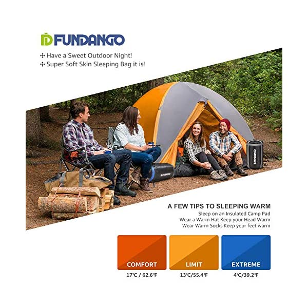 FUNDANGO Sleeping Bag Queen Size XL Double Sleeping Bag for Camping, Hiking, Traveling,2 Person Sleeping Bag with 2 Pillows and Compression Bag 6