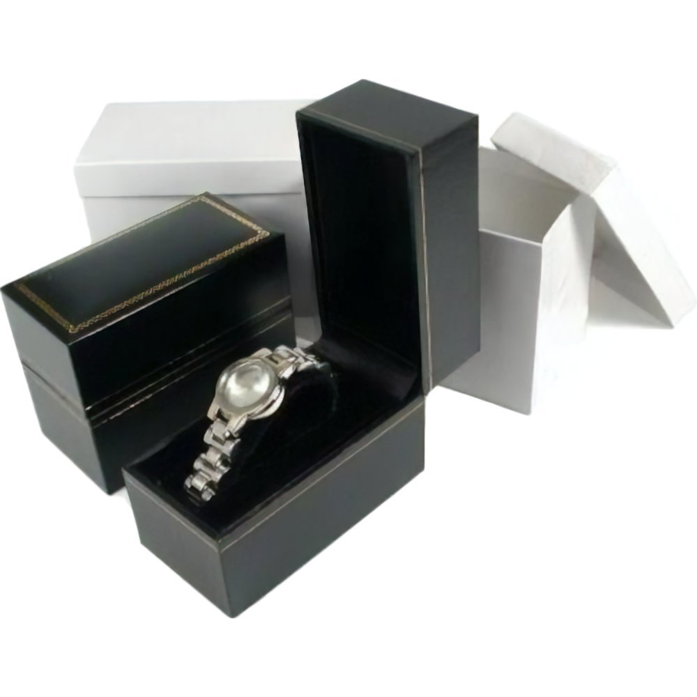 2 Black Leather Bracelet Watch Boxes Gift Displays