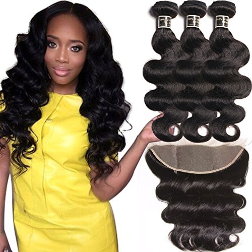 Cheap Brazilian Virgin Hair Body Wave with Lace Frontal, 100% Unprocessed Human Hair Bundles with 13×4 Ear to Ear Lace Frontal, Bleached Knots with Baby Hair Natural Color 100g/PC(12 14 14 with 10)