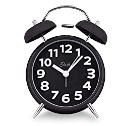 Slash 4 Vintage Retro Old Fashioned 3D Numerals Quiet Non-ticking Sweep Second Hand, Quartz Analog Twin Bell Clock, Battery Operated, Loud Alarm, Nightlight Function (Black)